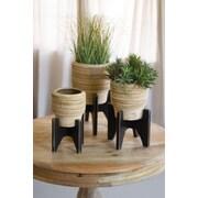 Kalalou Round 3 Piece Clay/Wood Pot Planter Set
