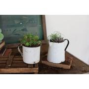 Kalalou Antique Metal Pot Planter Set