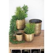 Kalalou Flower 4 Piece Metal Pot Planter Set
