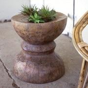 Kalalou Antique Wooden Pounder Urn Planter