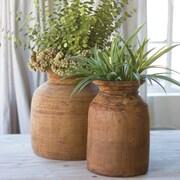 Kalalou Mango 2 Piece Wood Urn Planter Set