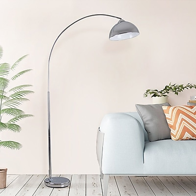 Ivy Bronx Driffield Chrome Arched Floor Lamp