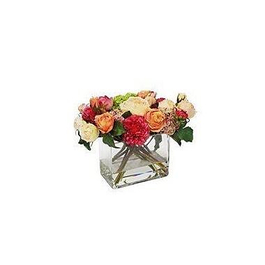 Rosdorf Park Dahlia Garden Rose Floral Arrangement in Vase