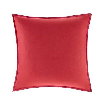 Highland Dunes Burdick 100pct Linen Throw Pillow; Red