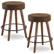 Loon Peak Elk Falls Rustic Faux Leather 26'' Swivel Bar Stool (Set of 2)
