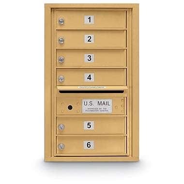 PostalProductsUnlimitedInc. Standard 6 Door 4C Horizontal Mail Center; Gold