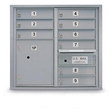 PostalProductsUnlimitedInc. Standard 9 Door 4C Horizontal Mail Center w/ 1 Parcel Locker; Sandstone
