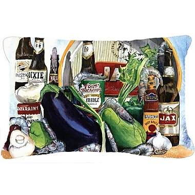 Red Barrel Studio Donnellan Eggplant and New Orleans Beers Indoor/Outdoor Throw Pillow