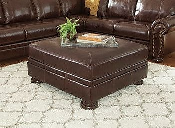 17 Stories Marcelle Accent Leather Ottoman