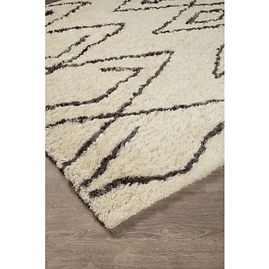 17 Stories Jacques Hand-Tufted Black/White Area Rug; 5' x 8'