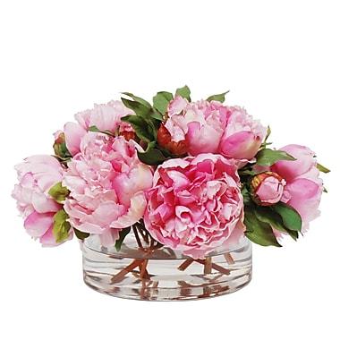 Rosdorf Park Peony Bouquet Floral Arrangement in Low Cylinder Vase