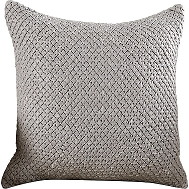 17 Stories Kavita Woven Leather Throw Pillow; Gray