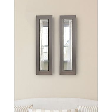 17 Stories Contemporary Silver Panel Mirror (Set of 2); 29'' H x 11'' W x 0.75'' D