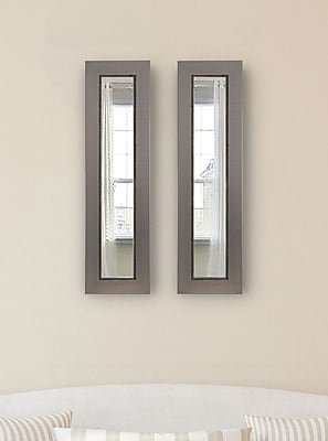 17 Stories Contemporary Silver Panel Mirror (Set of 2); 39'' H x 15'' W x 0.75'' D