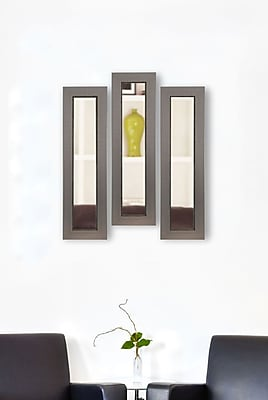 17 Stories Contemporary Rectangle Panel Mirror (Set of 3); 25'' H x 9'' W x 0.75'' D