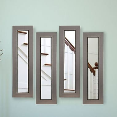 17 Stories Industrial Silver Panel Mirror (Set of 4); 39'' H x 15'' W x 0.75'' D