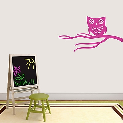 SweetumsWallDecals Cute Owl on Branch Wall Decal; Hot Pink