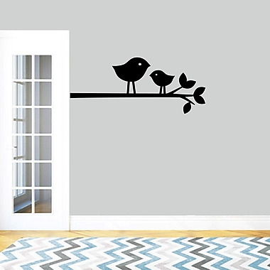 SweetumsWallDecals Birds on a Branch Wall Decal; Black