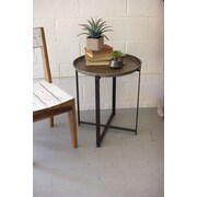 17 Stories Ciara Recycled Round Metal Tray Table