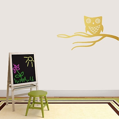 SweetumsWallDecals Cute Owl on Branch Wall Decal; Gold
