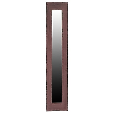 17 Stories Contemporary Rectangle Wood Framed Wall Mirror; Brown