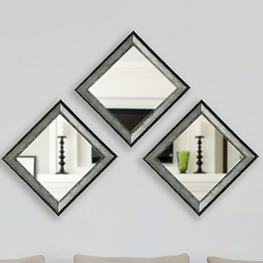 17 Stories Square Champagne Wall Mirror (Set of 3); Charcoal