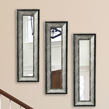 17 Stories Charcoal Panel Mirror (Set of 3); 22.5'' H x 10.5'' W x 1.13 D