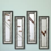 17 Stories Gray Panel Mirror (Set of 4); 22.5'' H x 10.5'' W x 1.13 D