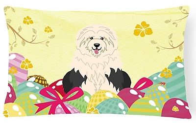 The Holiday Aisle Easter Eggs Old English Sheepdog Lumbar Pillow