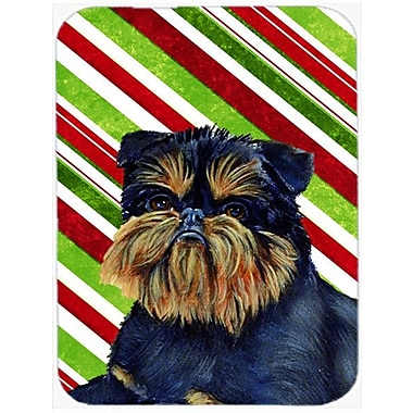The Holiday Aisle Brussels Griffon Candy Cane Holiday Christmas Rectangle Glass Cutting Board