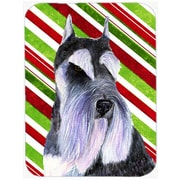 The Holiday Aisle Schnauzer Candy Cane Holiday Christmas Rectangle Glass Cutting Board