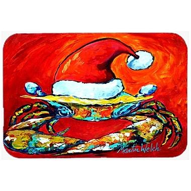 The Holiday Aisle Crab in Santa Hat Santa Claws Glass Cutting Board