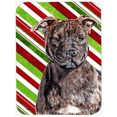 The Holiday Aisle Staffordshire Bull Terrier Staffie Candy Cane Christmas Glass Cutting Board