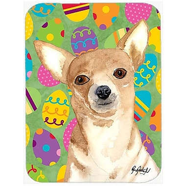 The Holiday Aisle Eggstravaganza Chihuahua Easter Rectangle Glass Cutting Board