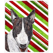 The Holiday Aisle Bull Terrier Candy Cane Christmas White Glass Cutting Board