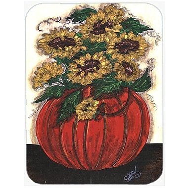 The Holiday Aisle Pumpkin Full of Flowers Glass Cutting Board