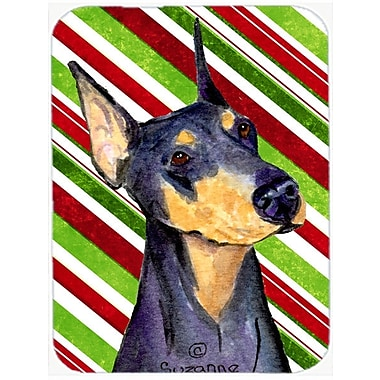 The Holiday Aisle Doberman Candy Cane Holiday Christmas Glass Cutting Board