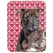 The Holiday Aisle Staffordshire Bull Terrier Staffie Hearts and Love Glass Cutting Board