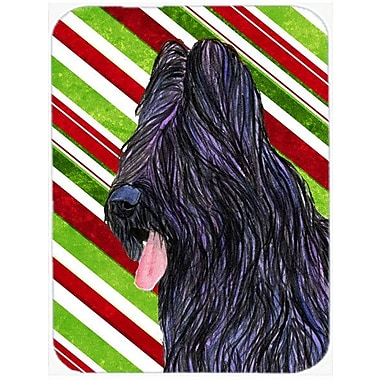 The Holiday Aisle Briard Candy Cane Holiday Christmas Glass Cutting Board