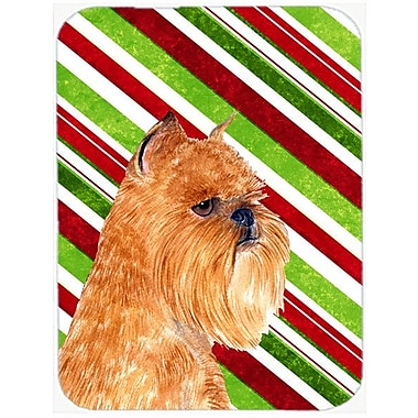 The Holiday Aisle Brussels Griffon Candy Cane Holiday Christmas Orange Glass Cutting Board