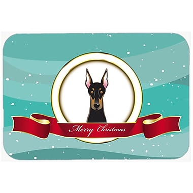 The Holiday Aisle Doberman Merry Christmas Glass Cutting Board