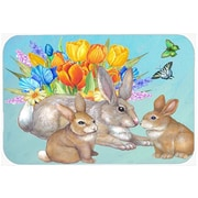 The Holiday Aisle Bunny Family Easter Rabbit Glass Cutting Board