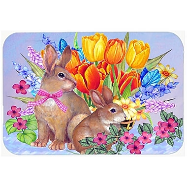 The Holiday Aisle New Beginnings II Easter Rabbit Glass Cutting Board