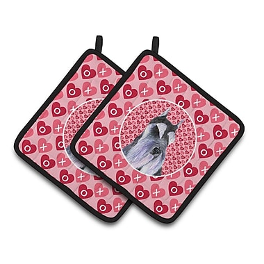 The Holiday Aisle Schnauzer Hearts Love and Valentine's Day Pink Portrait Potholder (Set of 2)