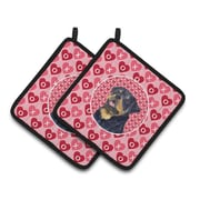 The Holiday Aisle Rottweiler Hearts Love and Valentine's Day Portrait Potholder (Set of 2)