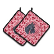 The Holiday Aisle Scottish Terrier Hearts Love Valentine's Day Pink Portrait Potholder (Set of 2)