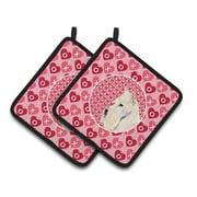 The Holiday Aisle Scottish Terrier Hearts Love Valentine's Day Portrait Potholder (Set of 2)