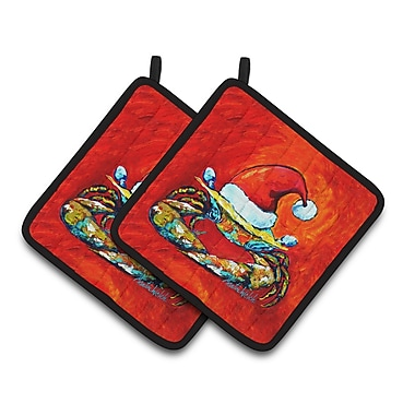 The Holiday Aisle Crab in Santa Hat Claws Potholder (Set of 2)