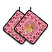 The Holiday Aisle Brussels Griffon Hearts Love and Valentine's Day Portrait Potholder (Set of 2)