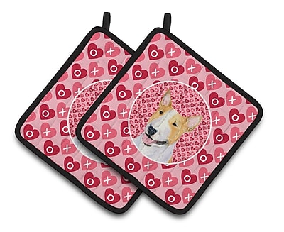 The Holiday Aisle Bull Terrier Hearts Love and Valentine's Day Portrait Potholder (Set of 2)